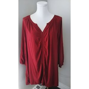 Addition Elle Red Tunic Blouse  button sleeves